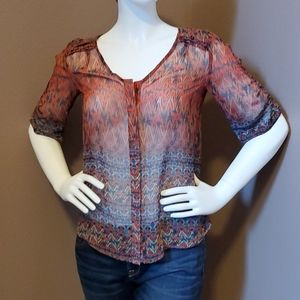 Anthropologie Skies Are Blue sheer blouse size XS